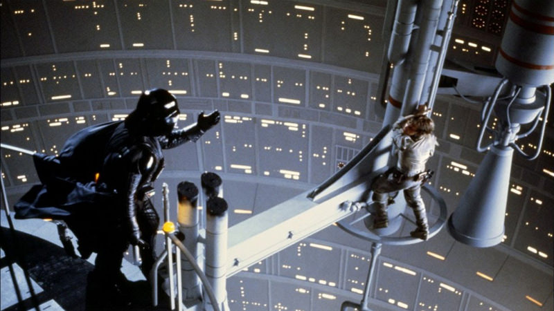 Darth Vader and Lukeskywalker in the Death Star